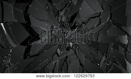 Glass Shatter And Breaking On Black