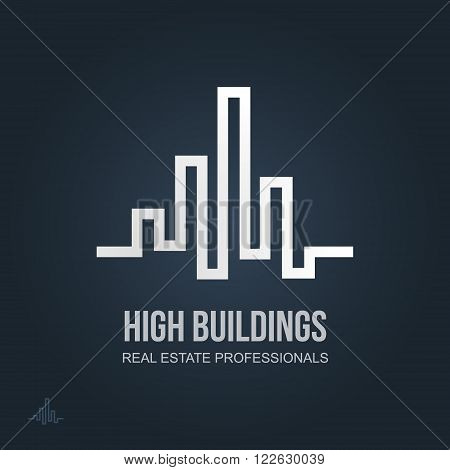 Real Estate Business sign & Business Card vector template for architecture bureau, insurance, brokerage, building & renovation business. Business graphics. Corporate web site element. Sample text.