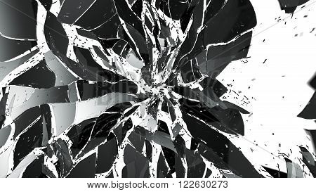 Shattered And Broken Glass Isolated On White