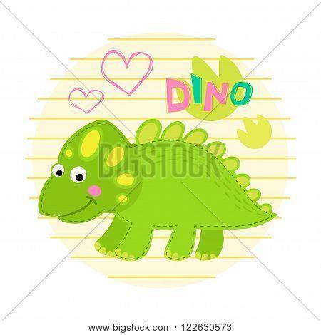Green dinosaur vector illustration. Dinosaur vector background
