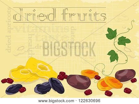 Dried fruits background. Vector Illustration. Warm colors.