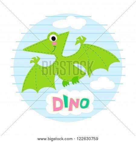 Flying dinosaur vector illustration. Dinosaur vector background