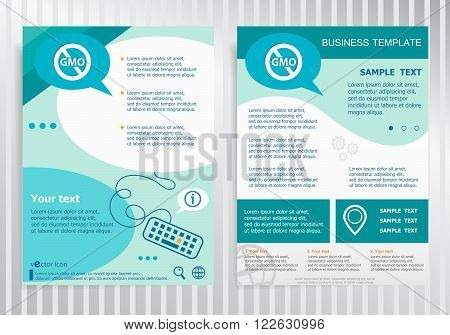 Without Genetically modified food symbol on vector Brochure. Flyer design. Layout template size A4.