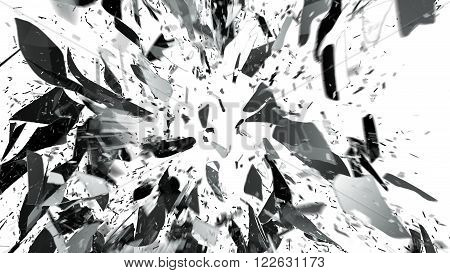 Destructed Or Shattered Glass On White With Motion Blur