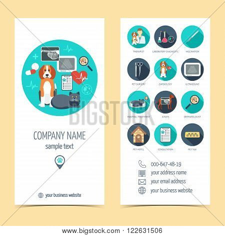Promotional products for vet clinic. Flyer brochure. Pet care. Flat design. Vector illustration