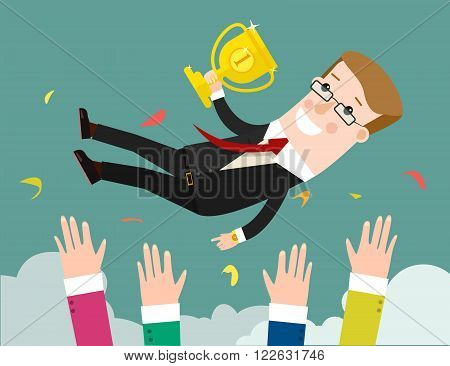 Success. businessman being thrown in the air. Flat design illustration vector