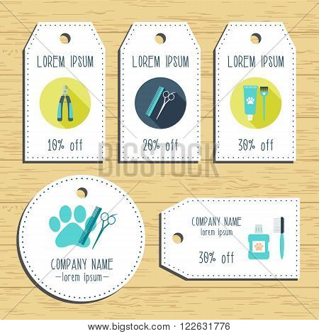 Grooming discount gift tags. Ready to use. Flat design. Vector illustration