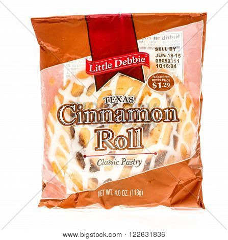 Winneconne WI - 5 June 2015: Package of Little Debbie Texas cinnamon roll.
