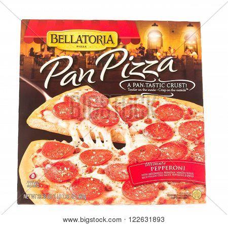 Winneconne WI - 5 June 2015: Box of Bellatoria pan frozen ultimate pepperoni pizza.