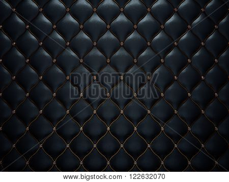 Black Leather Pattern With Diamonds And Golden Wire
