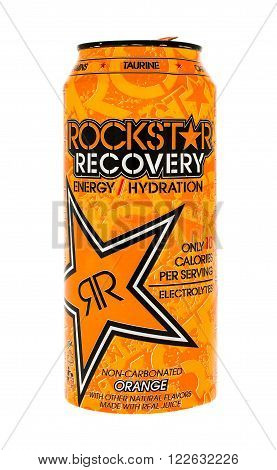 Winneconne WI - 5 June 2015: Can of Rockstar recovery energy drink