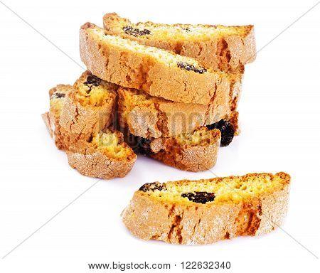 Kantuchchi with Almonds and Raisins, Biscotti ISokated on White Studio Photo