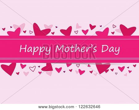 Happy Mother's Day - Banner with Hearts - Vector EPS