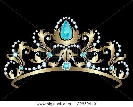 Golden tiara decorated with diamonds and aquamarines