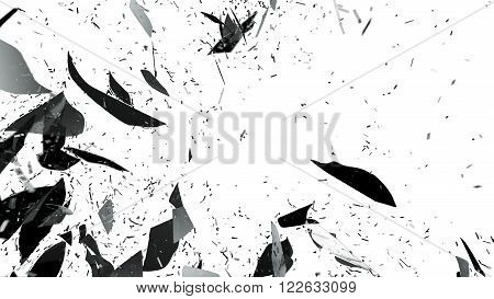 Shattered Glass With Motion Blur Isolated On White