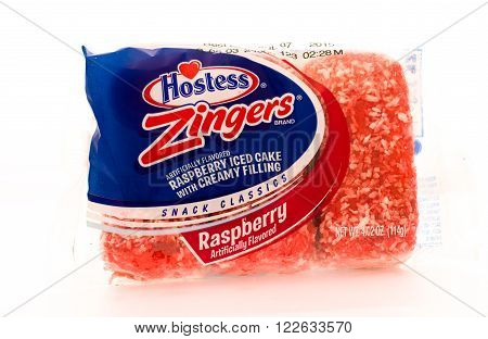 Winneconni WI - 16 June 2015: Package of Hostess zinger in raspberry flavor