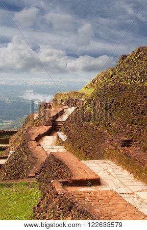 Ancient stone wall of Sigiriya palace Sri lanka