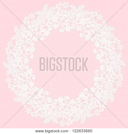 White openwork lace napkin on a pink background