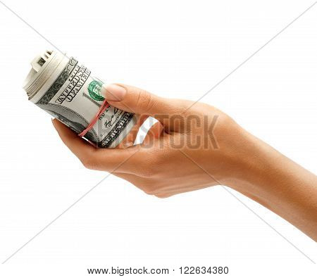 Hand is giving bundle of one hundred US dollars banknotes isolated on white background. Business concept