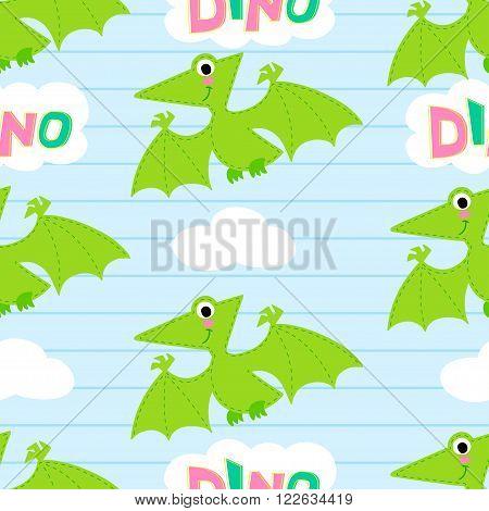 Flying dinosaur vector seamless pattern.  Dinosaur vector background