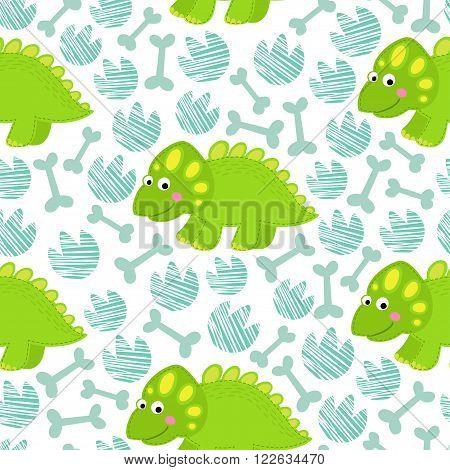 Green dinosaur on striped background vector seamless pattern. Dinosaur