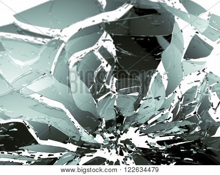 Shattered Glass Isolated On White Shallow Dof