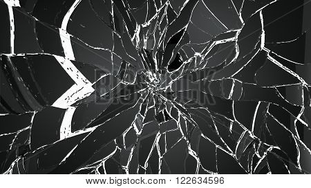 Shattered Small And Large Pieces Glass On White