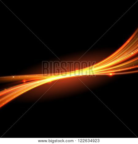 Vector light trace effect. Glowing spark swirl trail tracing on black background.