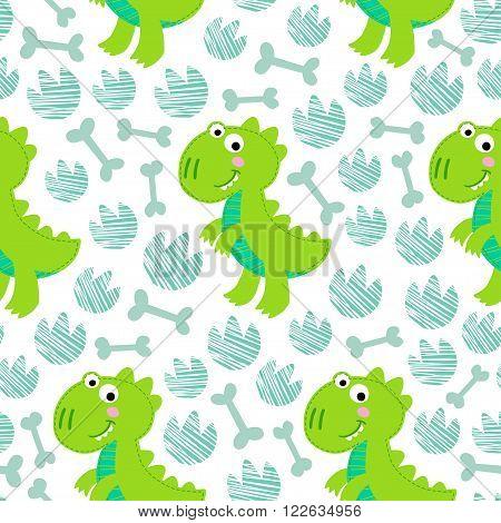 Green Dinosaur Rex vector seamless pattern. Dinosaur design