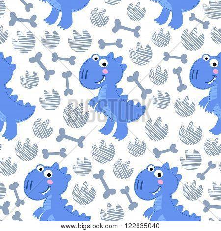 Blue Dinosaur Rex vector seamless pattern. Dinosaur boy design