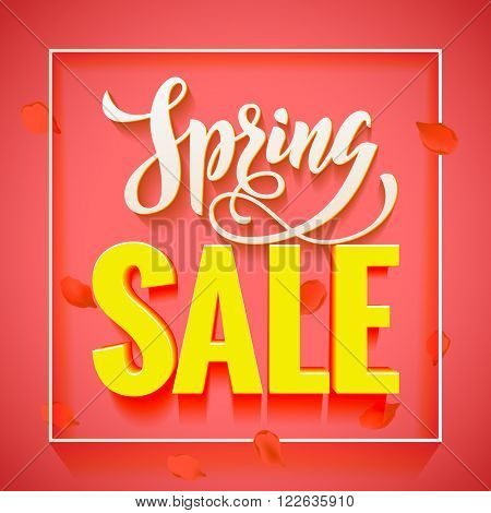 Vector spring sale discount promotion poster. Hand drawn greeting card. Calligraphy lettering design on pink background.