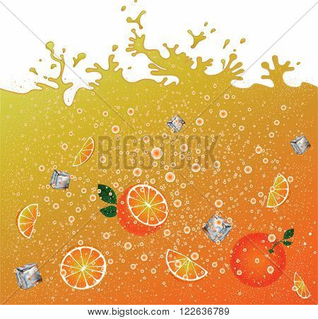Carbonated orange drink  background. Advertising banner. Ice and oranges. Juice. Orange citrus cocktail. Splashes.