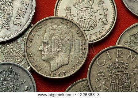 Coins of Spain. King Juan Carlos I of Spain depicted in the Spanish 100 peseta coin (1988).
