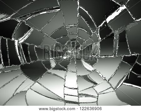 Glass Broken Or Shattered On White