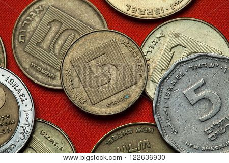 Coins of Israel. Israeli five agorot coin.