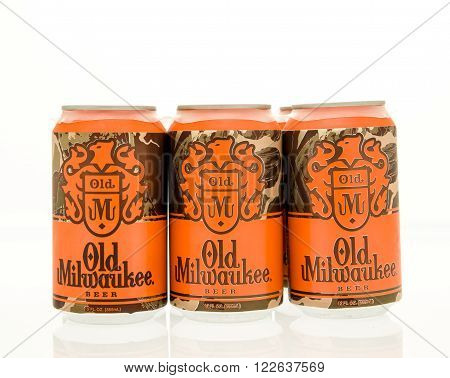 Winneconne WI - 15 March 2016: A six pack of Old Milwaukee beer in cans.