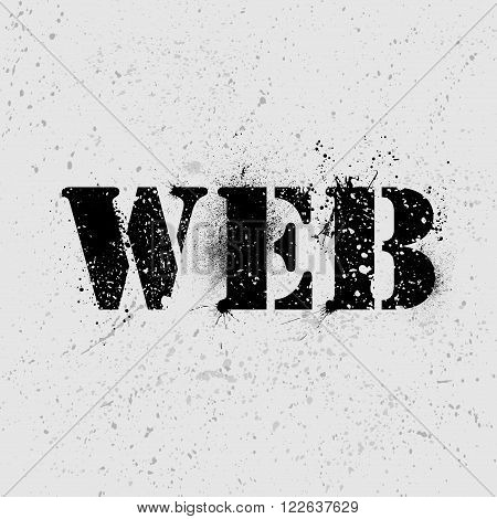 Grunge text WEB on gray ink blots background. eps10
