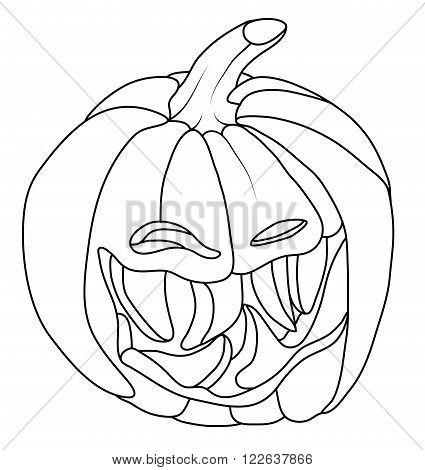 Creepy Smiley Halloween Pumpkin Face Isolated