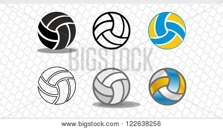 Set of colorful volleyballs. The logo is a ball in the vector