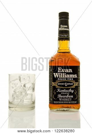 Winneconne WI - 19 March 2016: A bottle of Evan Williams whisky with a glass of ice.