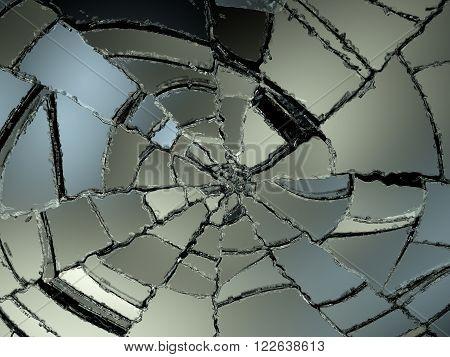 Destructed Glass Sharp Pieces On Black