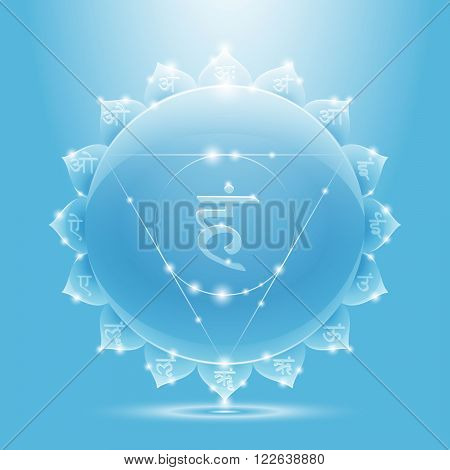 Vector illustration vishuddha. Chakra glossy icon. The concept of light blue throat chakra for design at India stile.