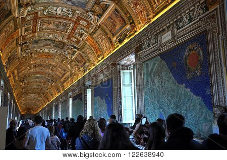 The Ceiling Of The Gallery Of Maps. Vatican Museum
