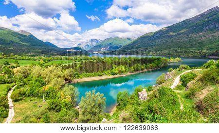 Pictorial lake Barrea in Abruzzo, Italy