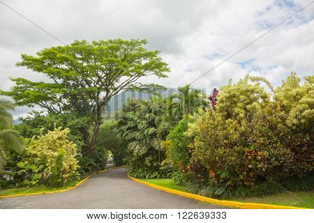 View of Arenal Volcano cone from La Fortuna place, Costa Rica