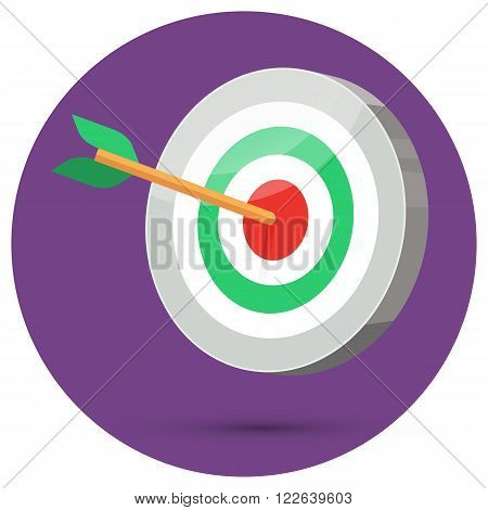 Dart arrow hitting center target on color background in circle, flat vector illustration, 3d stylize
