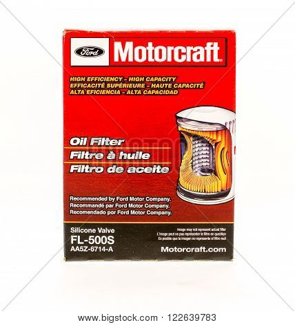 Winneconne WI - 5 June 2015: Ford motorcraft oil filter that is normally changed during every oil change.