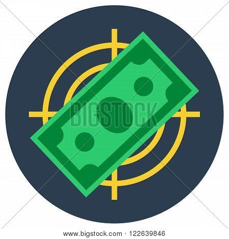 Paper money banknote flat vector illustration target symbol, money target image