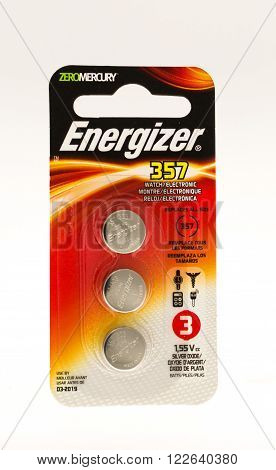 Winneconne WI - 5 June 2015: Package of Energizer 357 watch batteries.