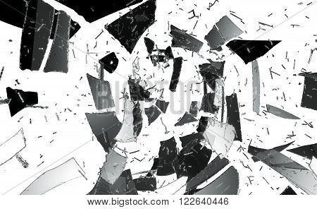 Pieces Of Destructed Or Shattered Glass Isolated